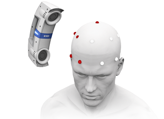 Scan the head with the Krios to localize each marker's position. This localization process creates a digital point cloud (3D model) and rigid body of marker coordinates.